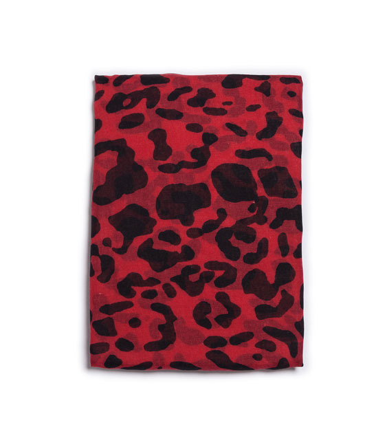 Animal Print Neck Scarf - secondary colour: black; occasions: casual, evening, creative work; type of pattern: standard; style: regular; size: standard; material: fabric; pattern: animal print; predominant colour: raspberry; season: a/w 2013