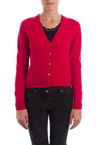 Rosehip Cashmere V Neck Cardigan - neckline: low v-neck; pattern: plain; predominant colour: true red; occasions: casual, evening, work, creative work; length: standard; style: standard; fit: slim fit; fibres: cashmere - 100%; sleeve length: long sleeve; sleeve style: standard; texture group: knits/crochet; pattern type: knitted - fine stitch; trends: broody brights; season: a/w 2013