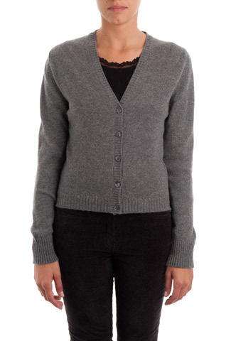 Granite Cashmere V Neck Cardigan - neckline: low v-neck; pattern: plain; predominant colour: charcoal; occasions: casual, work; length: standard; style: standard; fit: slim fit; fibres: cashmere - 100%; sleeve length: long sleeve; sleeve style: standard; texture group: knits/crochet; pattern type: knitted - fine stitch; season: a/w 2013