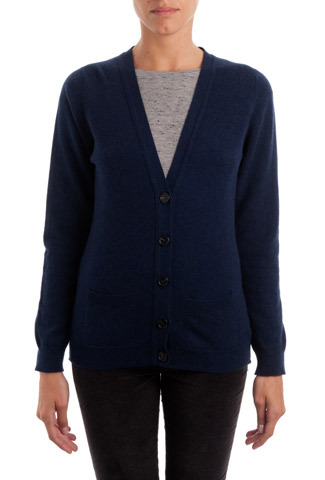 French Navy Cashmere Long Line V Neck Cardigan - neckline: low v-neck; pattern: plain; predominant colour: navy; occasions: casual, work, creative work; length: standard; style: standard; fit: slim fit; fibres: cashmere - 100%; sleeve length: long sleeve; sleeve style: standard; texture group: knits/crochet; pattern type: knitted - fine stitch; trends: broody brights; season: a/w 2013