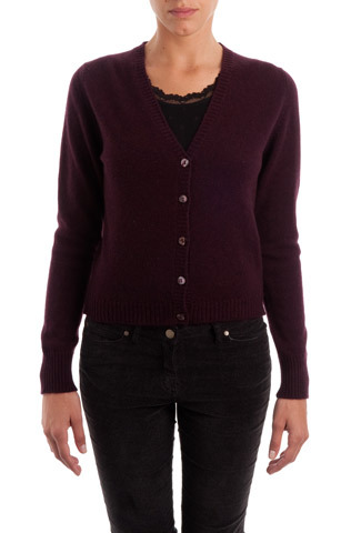 Oxblood Cashmere V Neck Cardigan - neckline: v-neck; pattern: plain; predominant colour: aubergine; occasions: casual, work, creative work; length: standard; style: standard; fit: standard fit; fibres: cashmere - 100%; sleeve length: long sleeve; sleeve style: standard; texture group: knits/crochet; pattern type: knitted - fine stitch; trends: broody brights; season: a/w 2013