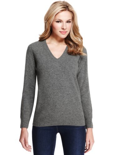 M&S Collection Pure Lambswool V Neck Jumper - neckline: v-neck; pattern: plain; style: standard; predominant colour: mid grey; occasions: casual, work; length: standard; fibres: wool - 100%; fit: standard fit; sleeve length: long sleeve; sleeve style: standard; texture group: knits/crochet; pattern type: knitted - fine stitch; season: a/w 2013