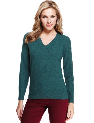 M&S Collection Pure Lambswool V Neck Jumper - neckline: v-neck; pattern: plain; style: standard; predominant colour: teal; occasions: casual, work; length: standard; fibres: wool - 100%; fit: standard fit; sleeve length: long sleeve; sleeve style: standard; texture group: knits/crochet; pattern type: knitted - fine stitch; season: a/w 2013