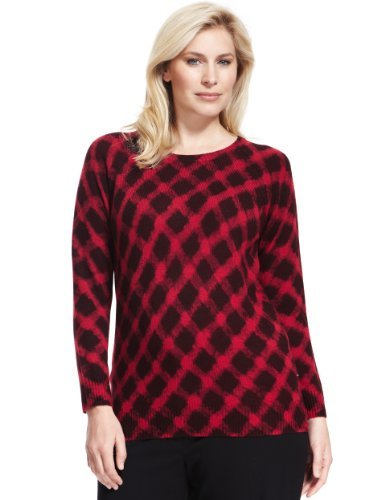 Plus Crew Neck Checked Jumper - pattern: checked/gingham; style: standard; predominant colour: true red; secondary colour: black; occasions: casual, creative work; length: standard; fibres: acrylic - 100%; fit: standard fit; neckline: crew; sleeve length: long sleeve; sleeve style: standard; texture group: knits/crochet; pattern type: knitted - fine stitch; pattern size: standard; trends: gorgeous grunge; season: a/w 2013