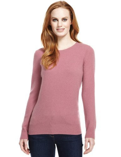 M&S Collection Pure Lambswool Crew Neck Jumper - pattern: plain; style: standard; occasions: casual, work; length: standard; fibres: wool - 100%; fit: standard fit; neckline: crew; sleeve length: long sleeve; sleeve style: standard; texture group: knits/crochet; pattern type: knitted - fine stitch; predominant colour: dusky pink; season: a/w 2013