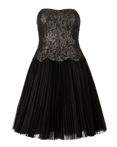 Ted Baker Tammie Lace Bodice Dress - neckline: strapless (straight/sweetheart); pattern: plain; sleeve style: strapless; predominant colour: black; occasions: evening, occasion; length: just above the knee; fit: fitted at waist & bust; style: fit & flare; fibres: polyester/polyamide - 100%; hip detail: adds bulk at the hips; sleeve length: sleeveless; texture group: sheer fabrics/chiffon/organza etc.; pattern type: fabric; embellishment: lace; season: a/w 2013; wardrobe: event; embellishment location: top