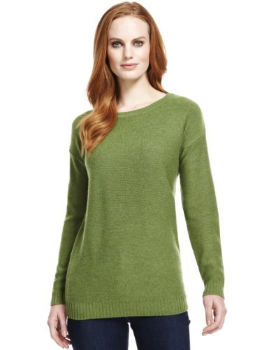 M&S Collection Pure Lambswool Reverse Knit Jumper - neckline: slash/boat neckline; pattern: plain; length: below the bottom; style: standard; predominant colour: khaki; occasions: casual, work; fibres: wool - 100%; fit: standard fit; sleeve length: long sleeve; sleeve style: standard; texture group: knits/crochet; pattern type: knitted - fine stitch; pattern size: standard; trends: broody brights; season: a/w 2013