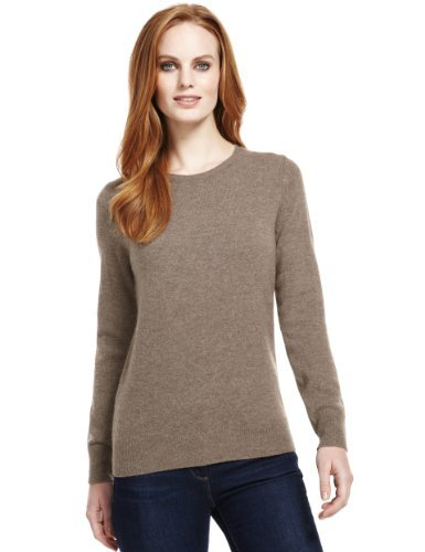 M&S Collection Pure Lambswool Crew Neck Jumper - pattern: plain; style: standard; predominant colour: taupe; occasions: casual, work, creative work; length: standard; fibres: wool - 100%; fit: standard fit; neckline: crew; sleeve length: long sleeve; sleeve style: standard; texture group: knits/crochet; pattern type: knitted - fine stitch; pattern size: standard; season: a/w 2013
