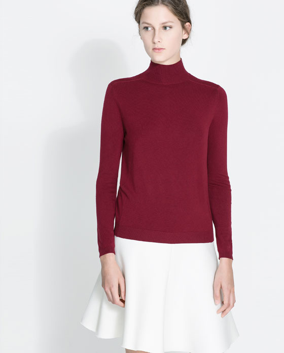 High Collar Sweater - pattern: plain; neckline: high neck; style: standard; predominant colour: burgundy; occasions: casual, work, creative work; length: standard; fit: slim fit; sleeve length: long sleeve; sleeve style: standard; texture group: knits/crochet; pattern type: fabric; trends: broody brights; season: a/w 2013