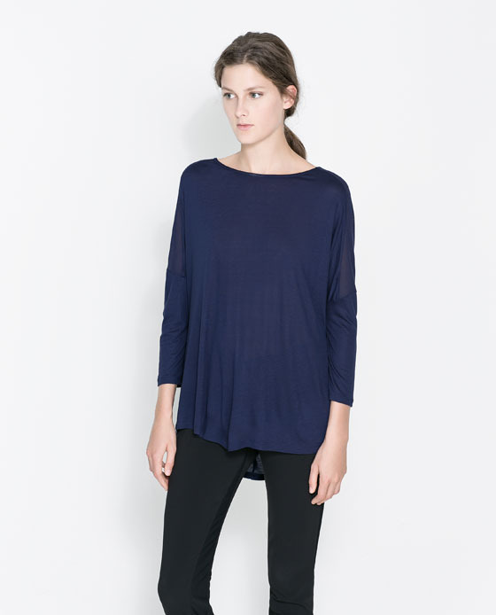 T Shirt With Transparent Shoulders - neckline: slash/boat neckline; pattern: plain; length: below the bottom; style: t-shirt; predominant colour: navy; occasions: casual, creative work; fibres: viscose/rayon - 100%; fit: loose; sleeve length: 3/4 length; sleeve style: standard; texture group: jersey - stretchy/drapey; trends: broody brights; season: a/w 2013