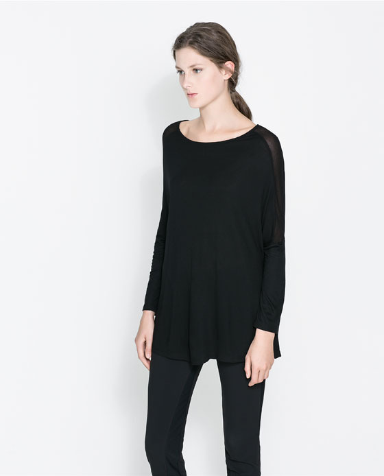 T Shirt With Transparent Shoulders - neckline: slash/boat neckline; pattern: plain; length: below the bottom; style: t-shirt; predominant colour: black; occasions: casual, creative work; fibres: viscose/rayon - 100%; fit: loose; sleeve length: long sleeve; sleeve style: standard; texture group: jersey - stretchy/drapey; season: a/w 2013