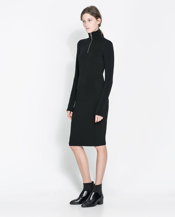 Ottoman Dress With Zip - style: jumper dress; pattern: plain; neckline: high neck; predominant colour: black; occasions: casual, evening, work, creative work; length: on the knee; fit: body skimming; fibres: polyester/polyamide - stretch; sleeve length: long sleeve; sleeve style: standard; texture group: jersey - stretchy/drapey; season: a/w 2013