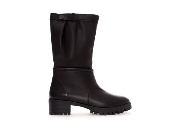 Leather Ankle Boot - predominant colour: black; occasions: casual, creative work; material: leather; heel height: flat; heel: block; toe: round toe; boot length: ankle boot; style: biker boot; finish: plain; pattern: plain; trends: gorgeous grunge; season: a/w 2013