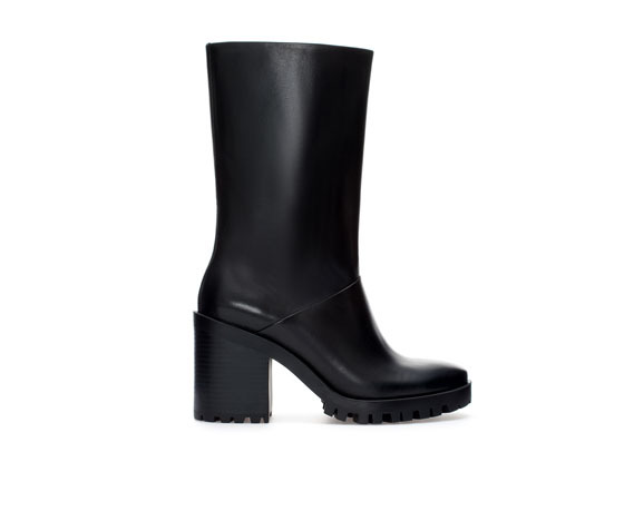 Leather Boot With Track Sole - predominant colour: black; occasions: casual, creative work; material: leather; heel height: mid; heel: block; toe: round toe; boot length: mid calf; style: standard; finish: plain; pattern: plain; season: a/w 2013