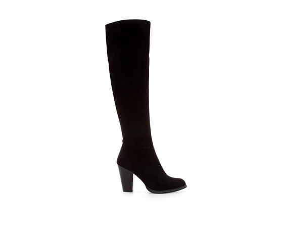Basic Suede High Heel Boot - predominant colour: black; occasions: casual, creative work; material: suede; heel height: mid; heel: block; toe: round toe; boot length: knee; style: standard; finish: plain; pattern: plain; season: a/w 2013