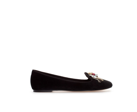 Embellished Slipper - predominant colour: black; occasions: casual, creative work; material: fabric; heel height: flat; toe: round toe; style: loafers; finish: plain; pattern: plain; embellishment: chain/metal; trends: gorgeous grunge; season: a/w 2013