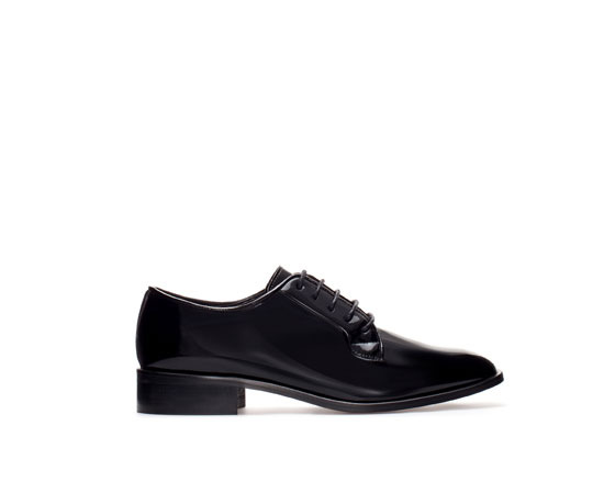 Patent Leather Blucher - predominant colour: black; occasions: casual, evening, work, creative work; material: faux leather; heel height: flat; toe: round toe; finish: patent; pattern: plain; style: lace ups; season: a/w 2013