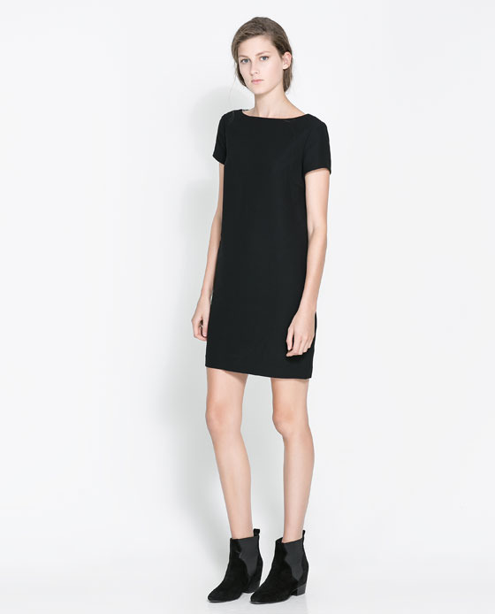 Dress With Lace Back - style: shift; length: mid thigh; neckline: slash/boat neckline; pattern: plain; predominant colour: black; occasions: casual, evening, work, occasion, creative work; fit: straight cut; fibres: polyester/polyamide - 100%; sleeve length: short sleeve; sleeve style: standard; pattern type: fabric; texture group: other - light to midweight; embellishment: lace; season: a/w 2013; wardrobe: highlight; embellishment location: back