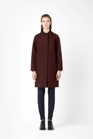 Raw Edge Wool Coat - pattern: plain; style: single breasted; collar: high neck; length: mid thigh; predominant colour: burgundy; occasions: casual, evening, work, creative work; fit: straight cut (boxy); fibres: wool - 100%; sleeve length: long sleeve; sleeve style: standard; collar break: high; texture group: woven bulky/heavy; trends: broody brights; season: a/w 2013