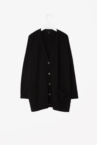 Extra Wide Cardigan - neckline: low v-neck; pattern: plain; length: below the bottom; predominant colour: black; occasions: casual, creative work; style: standard; fibres: wool - 100%; fit: loose; sleeve length: long sleeve; sleeve style: standard; texture group: knits/crochet; trends: oversized structure; season: a/w 2013
