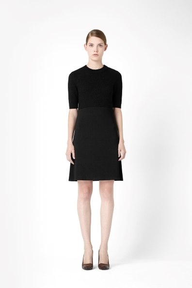 Dress With Textured Top - style: shift; pattern: plain; predominant colour: black; occasions: casual, evening, work, creative work; length: just above the knee; fit: soft a-line; fibres: viscose/rayon - stretch; neckline: crew; sleeve length: half sleeve; sleeve style: standard; texture group: knits/crochet; season: a/w 2013