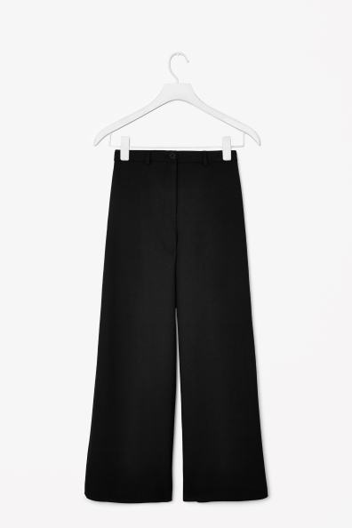 Wide Leg Trousers - length: standard; pattern: plain; style: palazzo; pocket detail: small back pockets, pockets at the sides; waist: mid/regular rise; predominant colour: black; occasions: evening, work, creative work; fibres: polyester/polyamide - stretch; fit: wide leg; pattern type: fabric; texture group: woven light midweight; season: a/w 2013