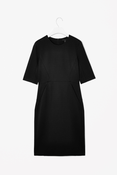 Panelled Jersey Dress - style: shift; neckline: round neck; fit: tailored/fitted; pattern: plain; predominant colour: black; occasions: evening, work, occasion, creative work; length: just above the knee; fibres: viscose/rayon - stretch; sleeve length: half sleeve; sleeve style: standard; texture group: crepes; season: a/w 2013