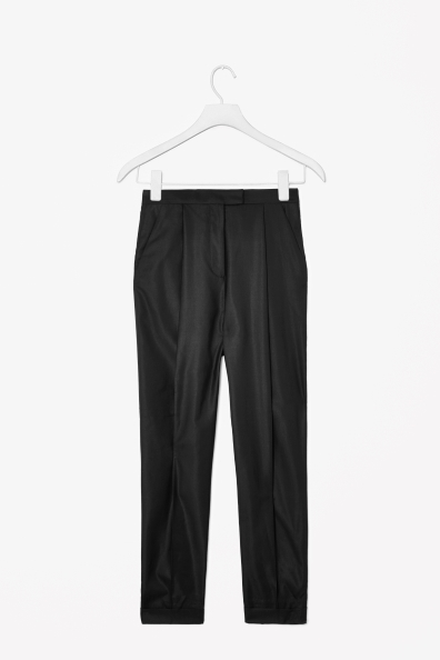 Wool Silk Trousers - length: standard; pattern: plain; style: peg leg; pocket detail: pockets at the sides; waist: mid/regular rise; predominant colour: black; secondary colour: black; occasions: casual, evening, work, creative work; fibres: wool - mix; hip detail: front pleats at hip level; fit: tapered; pattern type: fabric; texture group: woven light midweight; season: a/w 2013