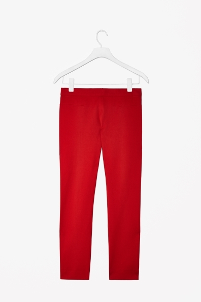 Trousers With Back Zip - length: standard; pattern: plain; waist: low rise; predominant colour: true red; occasions: casual, evening, creative work; fibres: cotton - stretch; fit: slim leg; pattern type: fabric; texture group: woven light midweight; style: standard; trends: broody brights; season: a/w 2013