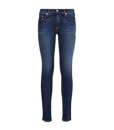 Skinny Jean - style: skinny leg; length: standard; pattern: plain; pocket detail: traditional 5 pocket; waist: mid/regular rise; predominant colour: navy; occasions: casual, evening, creative work; fibres: cotton - stretch; jeans detail: whiskering, shading down centre of thigh, dark wash, washed/faded; texture group: denim; pattern type: fabric; season: a/w 2013