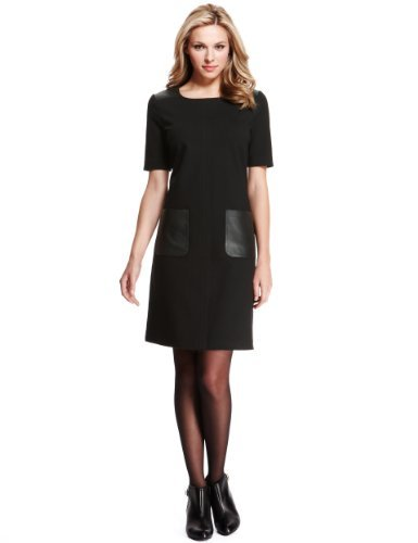 M&S Collection Leather Trim 2 Pockets Dress - style: shift; length: mid thigh; neckline: round neck; pattern: plain; hip detail: front pockets at hip; predominant colour: black; occasions: evening, work, creative work; fit: soft a-line; fibres: viscose/rayon - stretch; sleeve length: short sleeve; sleeve style: standard; pattern type: fabric; texture group: other - light to midweight; season: a/w 2013