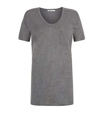 Classic Pocket Tee In Grey - pattern: plain; style: t-shirt; predominant colour: mid grey; occasions: casual, work, creative work; length: standard; neckline: scoop; fibres: viscose/rayon - 100%; fit: body skimming; sleeve length: short sleeve; sleeve style: standard; pattern type: fabric; texture group: jersey - stretchy/drapey; season: a/w 2013