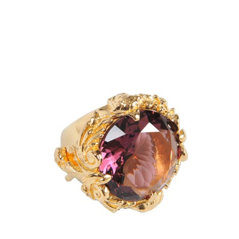 Baroque Ring - secondary colour: purple; predominant colour: gold; occasions: evening, occasion, creative work; style: cocktail; size: standard; material: chain/metal; finish: metallic; embellishment: jewels/stone; trends: excess embellishment; season: a/w 2013