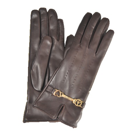 Peace & Love Leather Gloves - predominant colour: chocolate brown; occasions: casual, evening, work, occasion, creative work; style: standard; length: wrist; material: leather; pattern: plain; embellishment: chain/metal; trends: gothic romance; season: a/w 2013