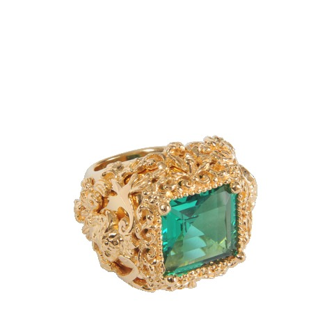 Baroque Ring - secondary colour: emerald green; predominant colour: gold; occasions: evening, occasion, creative work; style: cocktail; size: standard; material: chain/metal; finish: metallic; embellishment: jewels/stone; trends: excess embellishment; season: a/w 2013