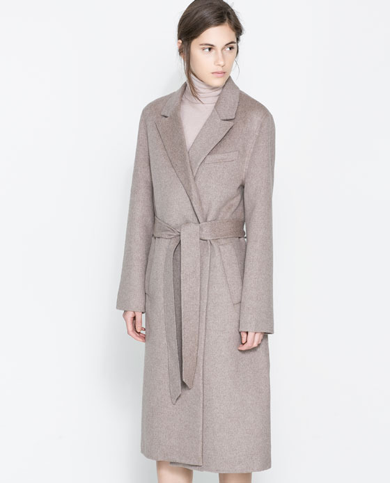 Coat With Lapels And Belt - pattern: plain; style: single breasted; collar: standard lapel/rever collar; predominant colour: taupe; occasions: casual, evening, work, occasion, creative work; fit: tailored/fitted; fibres: wool - mix; length: below the knee; waist detail: belted waist/tie at waist/drawstring; sleeve length: long sleeve; sleeve style: standard; collar break: medium; texture group: woven bulky/heavy; season: a/w 2013