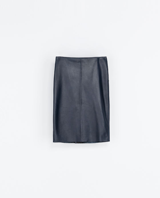 Straight Leather Midi Skirt - length: below the knee; pattern: plain; style: straight; waist: mid/regular rise; predominant colour: navy; occasions: casual, evening, work, creative work; fibres: leather - 100%; texture group: leather; fit: straight cut; trends: gorgeous grunge; season: a/w 2013