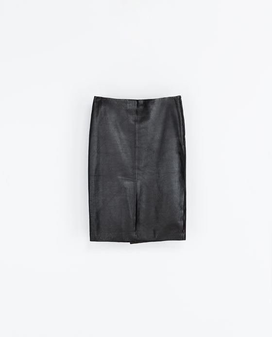 Straight Leather Midi Skirt - pattern: plain; style: straight; waist: mid/regular rise; predominant colour: black; occasions: casual, evening, work, creative work; length: on the knee; fibres: leather - 100%; texture group: leather; fit: straight cut; trends: gorgeous grunge; season: a/w 2013