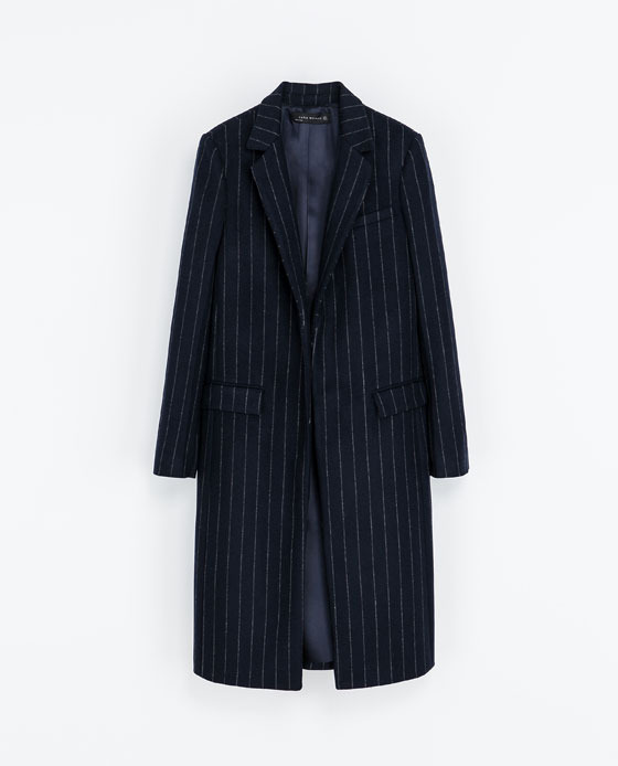 Pin Stripe Coat - style: single breasted; length: on the knee; pattern: pinstripe; collar: standard lapel/rever collar; predominant colour: navy; occasions: casual, evening, work, creative work; fit: straight cut (boxy); fibres: polyester/polyamide - mix; sleeve length: long sleeve; sleeve style: standard; collar break: medium; pattern type: fabric; pattern size: light/subtle; texture group: woven bulky/heavy; trends: oversized structure, masculine feminine; season: a/w 2013