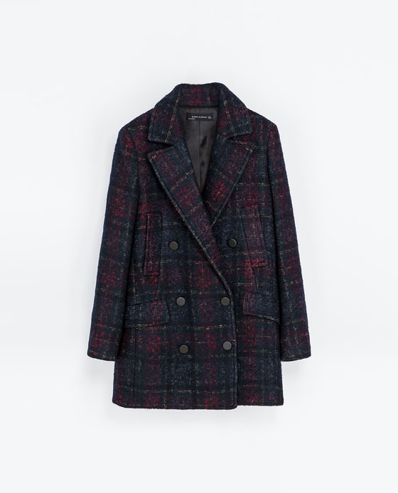 Checked Coat With Pockets - pattern: checked/gingham; length: below the bottom; style: double breasted; collar: standard lapel/rever collar; secondary colour: aubergine; predominant colour: navy; occasions: casual, work, creative work; fit: straight cut (boxy); fibres: acrylic - mix; sleeve length: long sleeve; sleeve style: standard; collar break: medium; texture group: woven bulky/heavy; season: a/w 2013