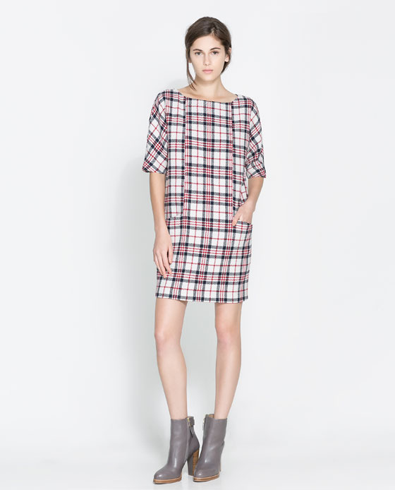 Checked Dress - style: smock; length: mid thigh; neckline: slash/boat neckline; pattern: checked/gingham; hip detail: front pockets at hip; predominant colour: white; secondary colour: nude; occasions: casual, evening, creative work; fit: straight cut; fibres: acrylic - mix; sleeve length: half sleeve; sleeve style: standard; texture group: cotton feel fabrics; pattern type: fabric; trends: gorgeous grunge; season: a/w 2013