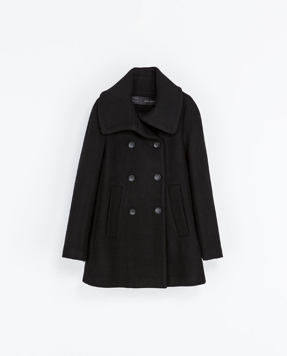 Flared Coat - pattern: plain; length: below the bottom; style: double breasted; predominant colour: black; occasions: casual, work, creative work; fit: straight cut (boxy); fibres: wool - mix; collar: shirt collar/peter pan/zip with opening; sleeve length: long sleeve; sleeve style: standard; collar break: high; texture group: woven bulky/heavy; season: a/w 2013