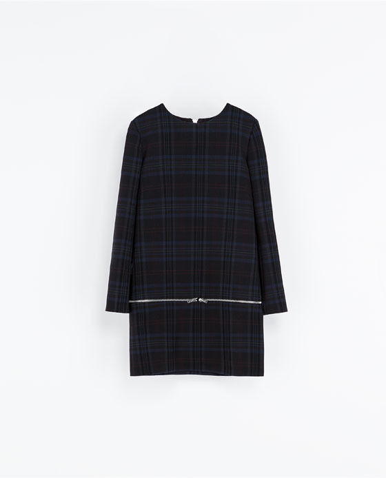 Checked Dress With Zips - style: smock; length: mini; pattern: checked/gingham; secondary colour: navy; predominant colour: black; occasions: casual, evening, occasion, creative work; fit: straight cut; fibres: polyester/polyamide - stretch; neckline: crew; sleeve length: long sleeve; sleeve style: standard; pattern type: fabric; texture group: woven light midweight; trends: gorgeous grunge; season: a/w 2013