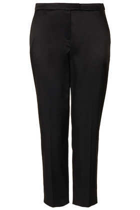Lux Seam Cigarette Trousers - pattern: plain; waist: high rise; predominant colour: black; occasions: evening, work, occasion, creative work; length: calf length; fibres: viscose/rayon - stretch; fit: straight leg; texture group: woven light midweight; style: standard; trends: masculine feminine; season: a/w 2013