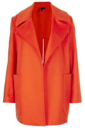 Tomato Wool Coat Boutique - pattern: plain; collar: wide lapels; fit: loose; length: mid thigh; predominant colour: bright orange; occasions: casual, evening, work, occasion, creative work; style: cocoon; fibres: wool - mix; sleeve length: long sleeve; sleeve style: standard; collar break: low/open; texture group: woven bulky/heavy; season: a/w 2013; hip detail: front pockets at hip