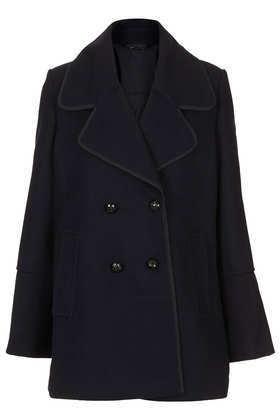 Wide Collar Pea Coat - pattern: plain; collar: wide lapels; style: pea coat; length: mid thigh; predominant colour: black; occasions: casual, work, creative work; fit: straight cut (boxy); fibres: wool - mix; sleeve length: long sleeve; sleeve style: standard; collar break: medium; texture group: woven bulky/heavy; season: a/w 2013