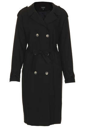 Soft Trench Coat - pattern: plain; length: below the bottom; style: trench coat; collar: standard lapel/rever collar; predominant colour: black; occasions: casual, work, creative work; fit: tailored/fitted; fibres: viscose/rayon - 100%; sleeve length: long sleeve; sleeve style: standard; collar break: medium; pattern type: fabric; texture group: other - light to midweight; season: a/w 2013