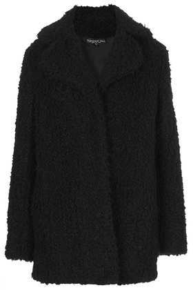 Tall Teddy Fur Pea Coat - pattern: plain; length: below the bottom; style: pea coat; collar: standard lapel/rever collar; predominant colour: black; occasions: casual, evening, creative work; fit: straight cut (boxy); fibres: acrylic - mix; sleeve length: long sleeve; sleeve style: standard; collar break: medium; texture group: woven bulky/heavy; season: a/w 2013; hip detail: side pockets at hip
