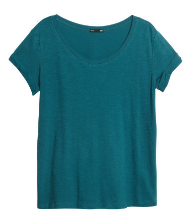 Top In Slub Jersey - neckline: round neck; pattern: plain; predominant colour: teal; occasions: casual, creative work; length: standard; style: top; fibres: cotton - 100%; fit: loose; sleeve length: short sleeve; sleeve style: standard; texture group: jersey - stretchy/drapey; trends: broody brights; season: a/w 2013