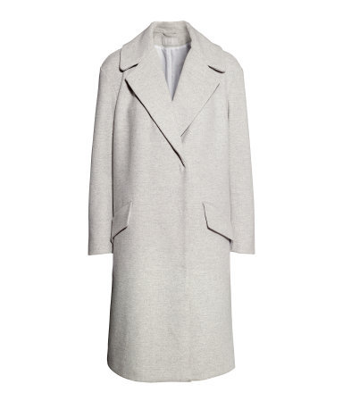 Coat - pattern: plain; length: below the bottom; collar: wide lapels; fit: loose; style: single breasted; predominant colour: light grey; occasions: casual, evening, work, creative work; fibres: wool - mix; sleeve length: long sleeve; sleeve style: standard; collar break: medium; texture group: woven bulky/heavy; trends: masculine feminine; season: a/w 2013; hip detail: front pockets at hip